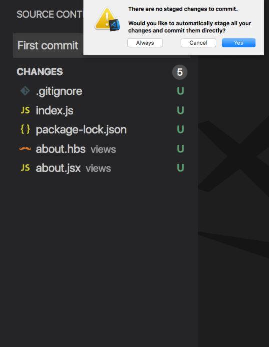Tạo commit mới trong VS Code